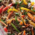 韓国春雨でチャプチェ、味付け牛肉でピリ辛ぶっかけ素麺