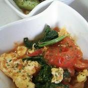 トマトとふんわり卵のカレー風味炒め♪