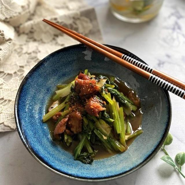 かぶ一束で2品!かぶの葉とやきとり缶の炒め煮とかぶの甘酢漬け