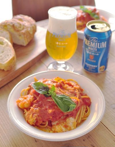 モッツァレラと海老のトマトパスタ