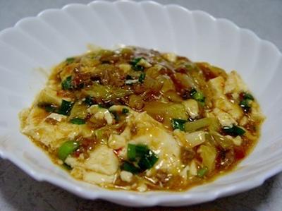 キャベツとニラの麻婆豆腐