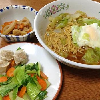 いろいろ野菜とチルドしゅうまいのレンチ蒸&マルちゃん正麺醤油味