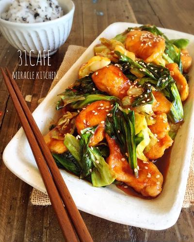 ♡簡単*節約♡春キャベツと鶏むね肉の韓国風ピリ辛炒め♡【春のごちそう*時短*お弁当】