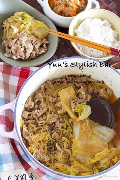 【レシピブログ連載】お料理初心者さんもラクラク♡味がしみしみ♡『豚コマと白菜のすき煮』