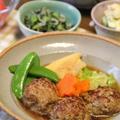 ミニハンバーグと春野菜の和風煮込み。晩ごはん。