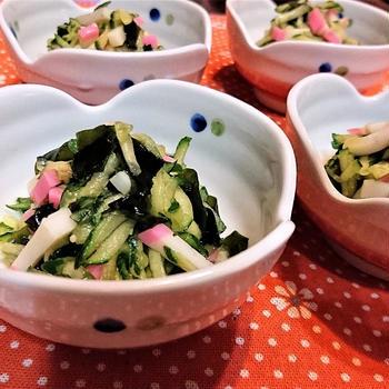 【レシピ】3分★簡単★ちょこっとおかず【板カマと胡瓜のわさび醤油和え】