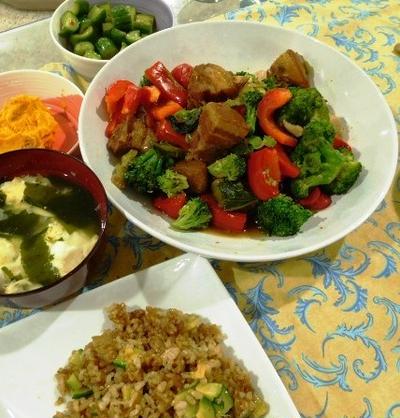 夫の眼鏡探し ~ 豚のばら肉とブロッコリー、パプリカの中華風炒め物