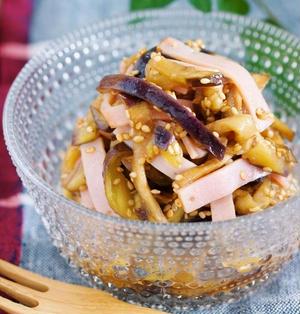 なすとハムの中華サラダ【#作り置き #レンジ #副菜 #中華風】