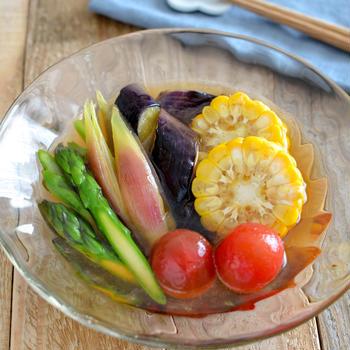 夏野菜のおひたし。あごだしつゆで簡単!和風の副菜。(PR)【農家のレシピ帳】