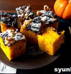 【ハロウィンに】レンジで3分!タッパーで*かぼちゃとオレオのケーキ(ホットケーキミックス使用)
