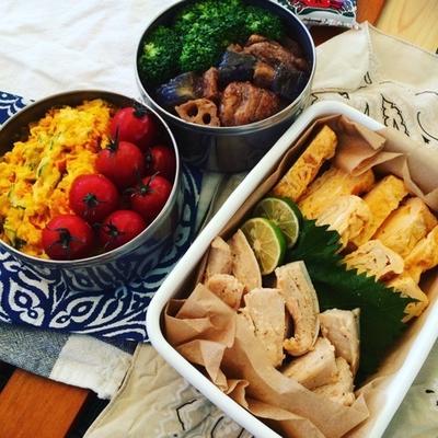 ピクニック弁当〜鶏肉となすとレンコンのバルサミコソース炒め