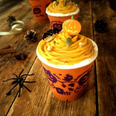 かぼちゃクリームのカップショートケーキ