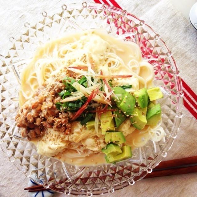 湯葉、アボカド、納豆の素麺、と誕生日。