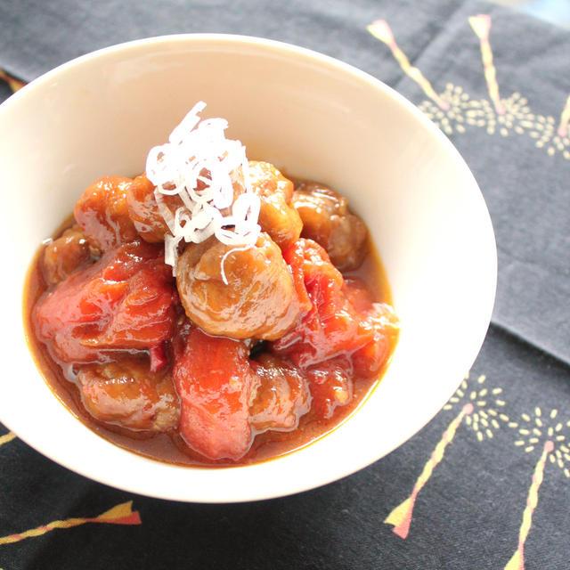 コロコロお肉とトマトの黒酢煮