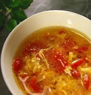 プチトマトと卵のふんわりスープ