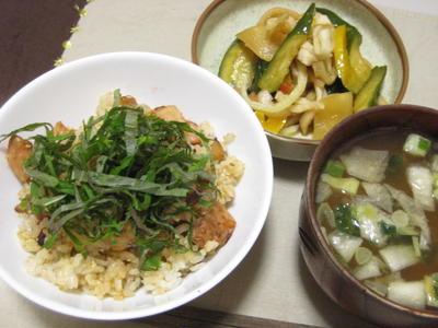 昨日の夕飯(6/18):鶏肉の混ぜご飯他