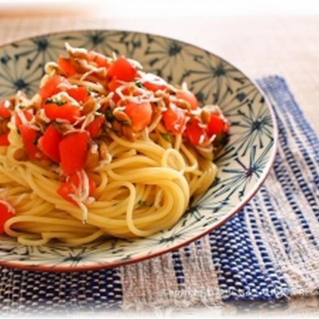 【煎り酒で。トマトと納豆のゆず胡椒風味パスタ】