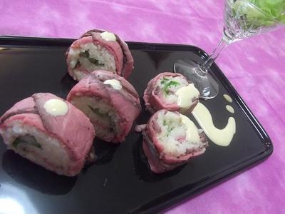 簡単豪華★ローストビーフ de 巻き寿司