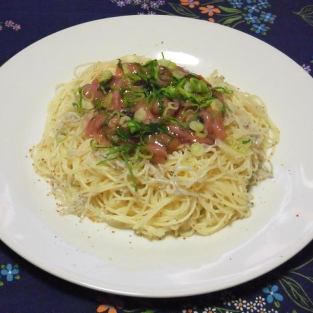 イカの塩辛とシラスのゴマ風味冷製カッペリーニ