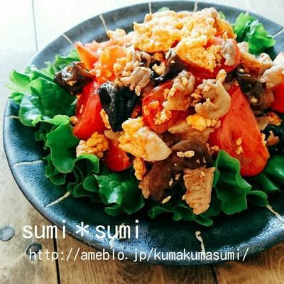 豚肉と卵の中華トマト炒め