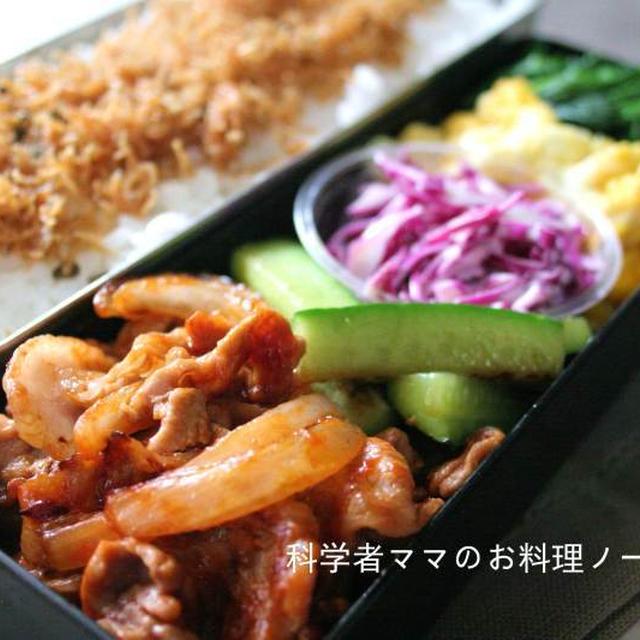 豚肉と玉ねぎのケチャップ焼きがメインのお弁当☆