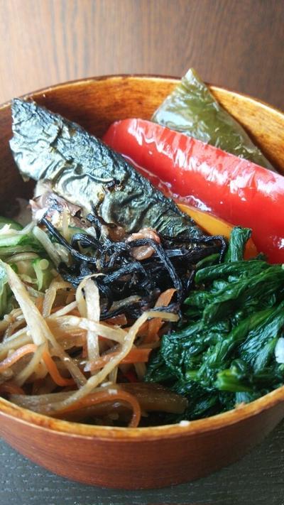 塩鯖と残り物弁当