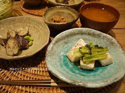 マクロビ的メニュー♪ 塩麹漬ビンチョウマグロと小松菜の炒め