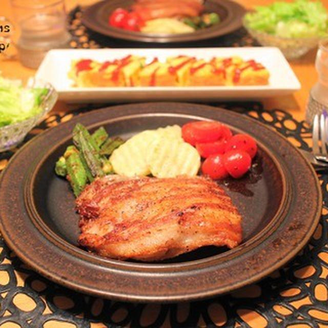 『豚バラ肉のステーキ風』の夜ごはん。