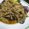 ナスと挽肉のチリパウダー炒め
