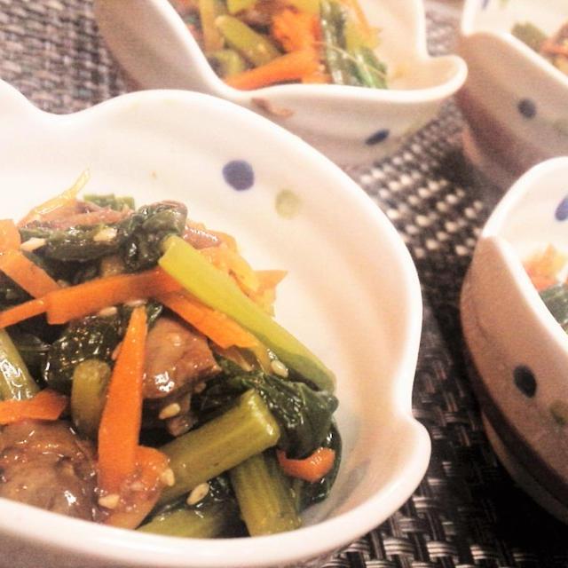 【レシピ】3分★缶詰利用【小松菜の赤貝和え】(^^♪