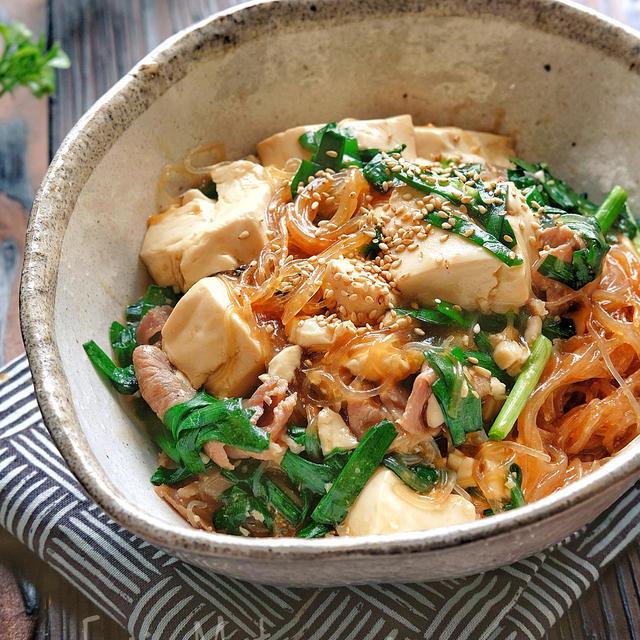 【らくレピ】レンジで簡単!*豆腐と豚肉と春雨のスタミナとろみ煮*ニラが...