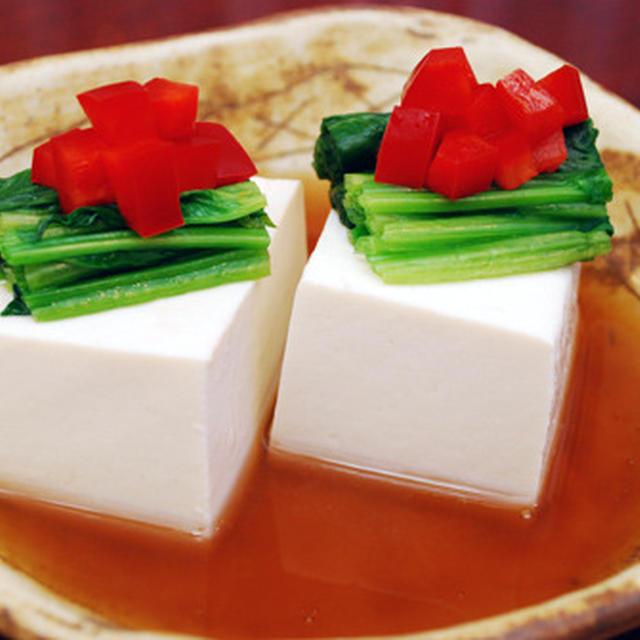 豆腐とホウレン草の冷やしあん