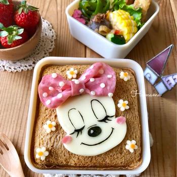 《キャラ弁》ランチパックで♡ミニーちゃんのお弁当♡作り方