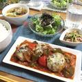 ソースが絶品♡色々野菜のトマトチーズハンバーグ♪…疲労回復&免疫力アップな一汁三菜の献立。