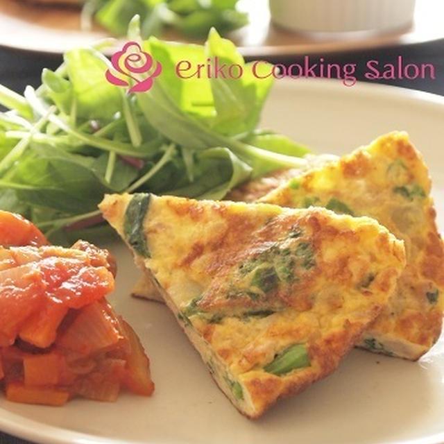 菜の花と鶏ひき肉のフリッタータ(レシピ)