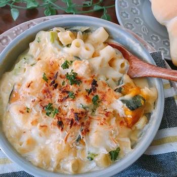 お鍋ひとつで簡単♡パスタ入り♡かぼちゃのグラタン風スープ