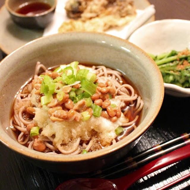 とろろ納豆おろし蕎麦/海老とまいたけの天ぷら