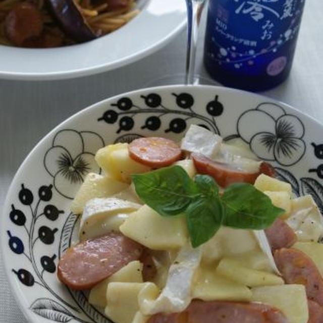 「りんごとカマンベールチーズとソーセージのソテー(レシピ)」「茄子と鶏肉のトマトソースパスタ」