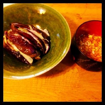 蒸し茄子の香味野菜ダレ