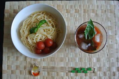 カレートマトの つけ麺パスタ