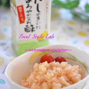 マヨネーズ不使用!だしまろ酢で簡単美味しい♡明太ポテトサラダ