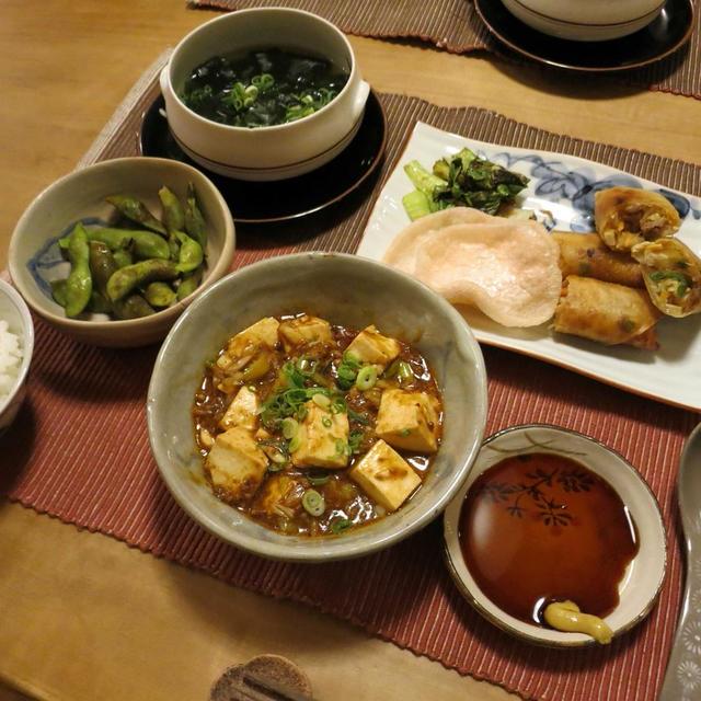 スパイシー『麻婆豆腐』&お得意『春巻』~中華な晩ご飯 と 真っ赤なピラカンサの実♪