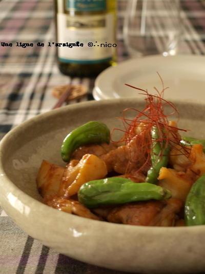 蓮根と鶏のコチュ味噌炒め。