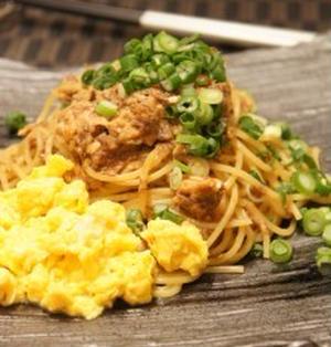 ふわふわ卵のさば味噌スパゲティ