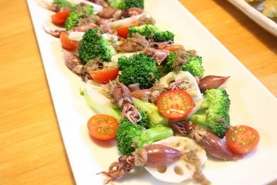 ホタルイカと野菜のアンチョビソース