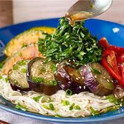 【レシピ】夏にピッタリ♬夏野菜の揚げ浸しそうめん♬