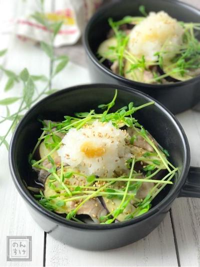 【レシピ・献立】簡単メイン、豚肉と茄子のおろしレンジ蒸し