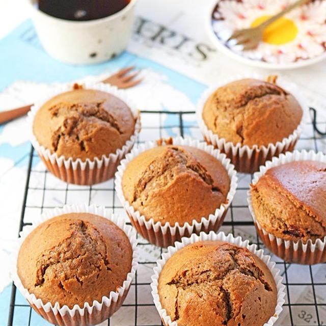 バター不使用!ホットケーキミックスで混ぜて焼くだけ簡単カフェモカ豆乳マフィン!