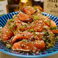 【レシピ】やみつきネギ塩こんぶサーモン