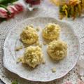 3月8日「国際女性デー」に市販のチーズケーキでミモザ風アイスケーキ